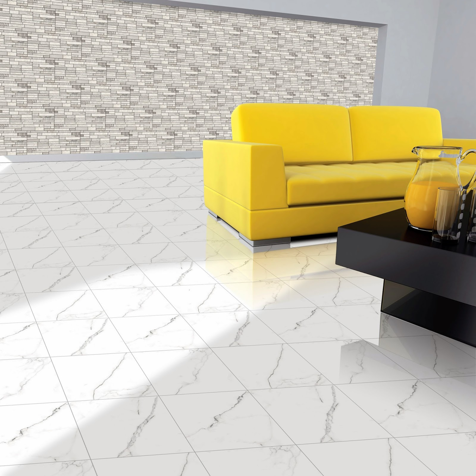 Amazing Superb Flooring For Living Room Wall Tiles Design Yellow Leather Arm Sofa Grey Tile Pattern Decal Black Gloss Wood Coffee Table