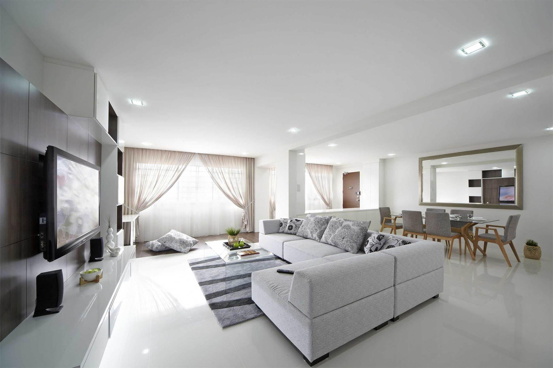 Living room white ceramic tiles